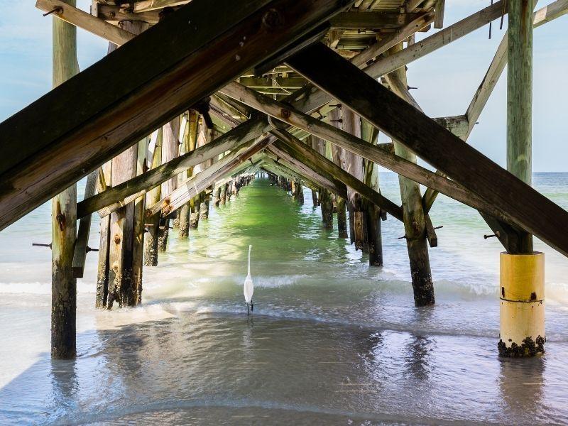 Redington Beach view under pier of ocean
