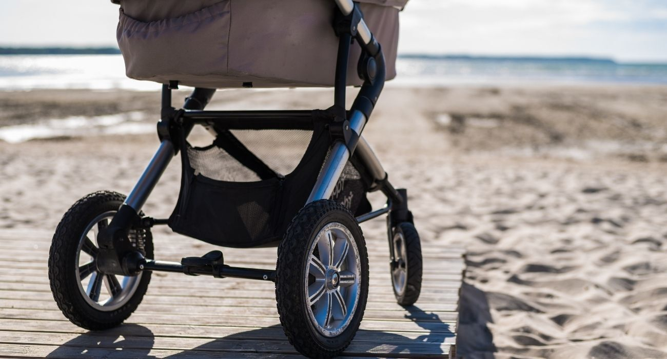baby stroller near beach